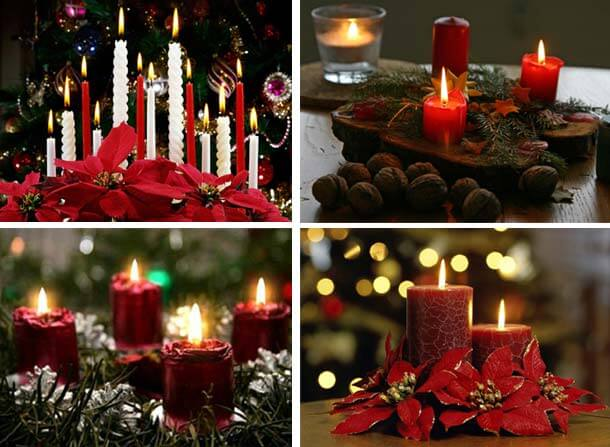 red candles on the mantle at christmas or orange candles on the table come to make one unique atmosphere with amazing trend in ideas in decorating