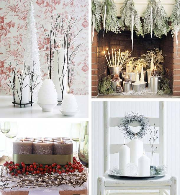 Christmas candles decorating ideas decorating christmas for Christmas home decorations pictures