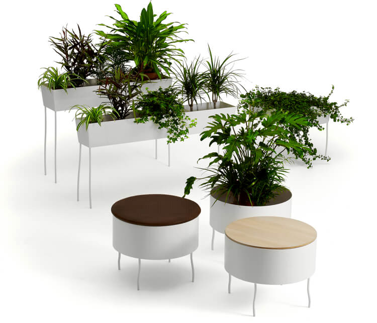 Office Life With Chic Furniture Splendid Integrated Plants