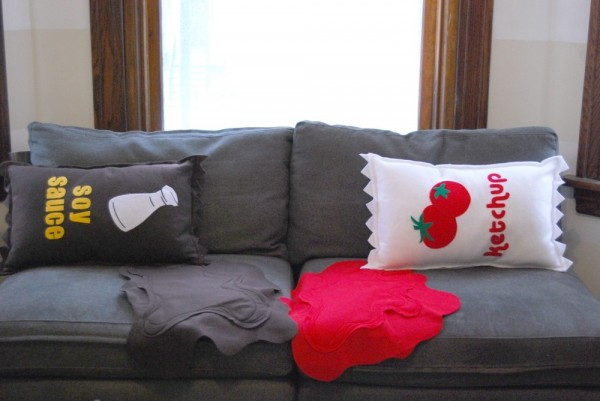 pillow design 3 600x401 Pillow design,CABIN FEVER SALE With Ketchup on the Side Pillow and Spill