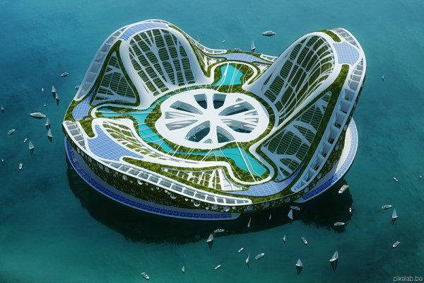 pixelab callebaut lillypads axono 600x400 LILYPAD, A FLOATING ECOPOLIS FOR CLIMATE REFUGEES | futuristic architectural concept
