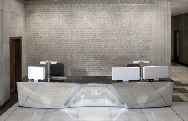 RIBA desk 2 600x386 Reception desk by Barber Osgerby