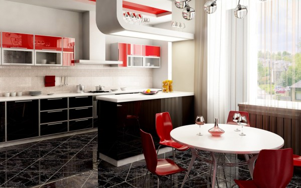 Elegant Kitchen Black and Red Design 600x375 Kitchen Modern Minimalist Furniture Inspiration