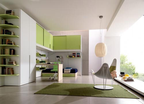 Modern and Minimalist Teenage Room Design in green interior The Psychology of Color for Interior Design