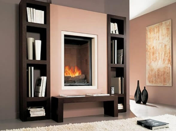 This model combines features of gaz fireplace and book shelves 588x438 The Psychology of Color for Interior Design