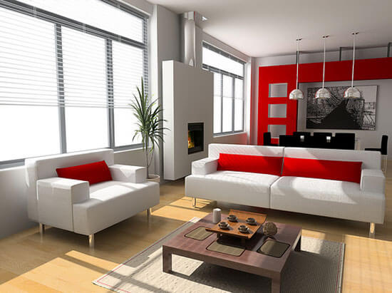 White Red Color Small Living Room Design Decorating Ideas The Psychology of Color for Interior Design