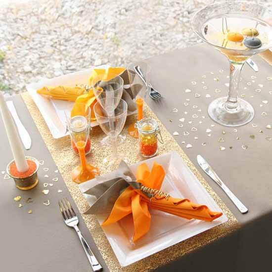gray orange colors table decoration ideas fall decorating 12 Ideas to Decorate your Table for Halloween