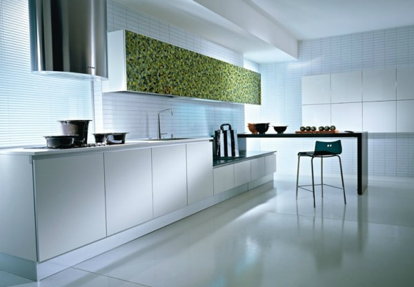 minimalist kitchen design with white kitchen furniture 600x416 Kitchen Modern Minimalist Furniture Inspiration