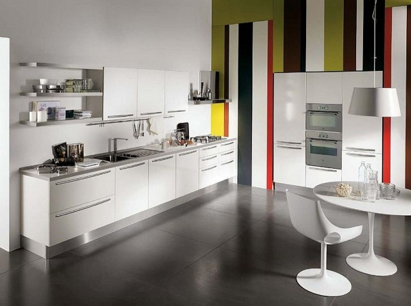 modern minimalist kitchen cabinet with colorful decorating 2  600x448 Kitchen Modern Minimalist Furniture Inspiration