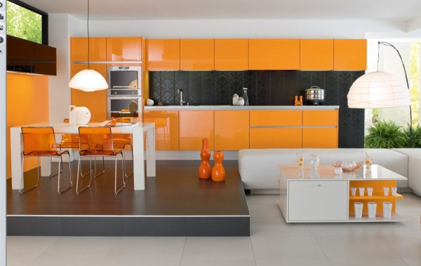 orange kitchen1 600x380 Kitchen Modern Minimalist Furniture Inspiration