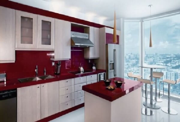 red white kitchen furniture in bright colors small modern apartment design in Miami 600x407 The Psychology of Color for Interior Design