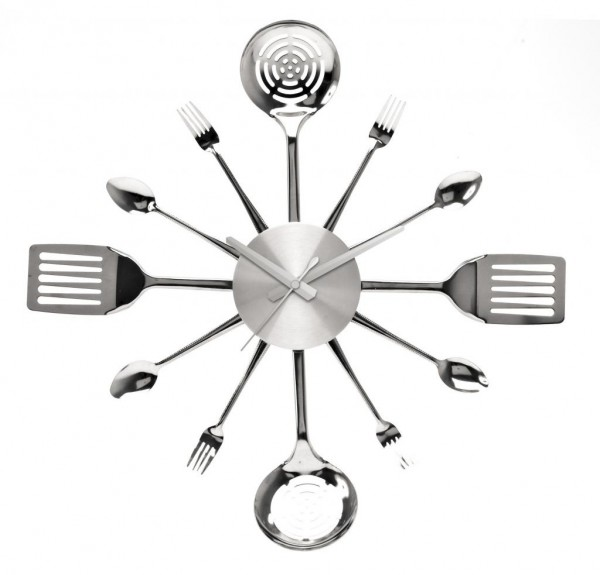 stainless steel utensils kitchen wall clock by pt zDTj 600x575 Unique and Inspiring Wall Clocks for Your Home