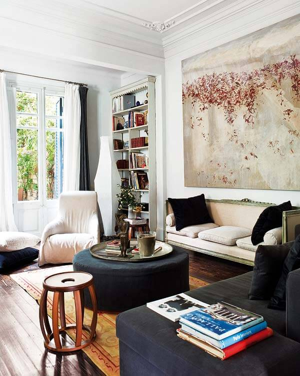 white walls painting abstract living room decorating black accents wood floors eclectic home decor ideas french sofa Perfect Backdrop For Paintings and Photos