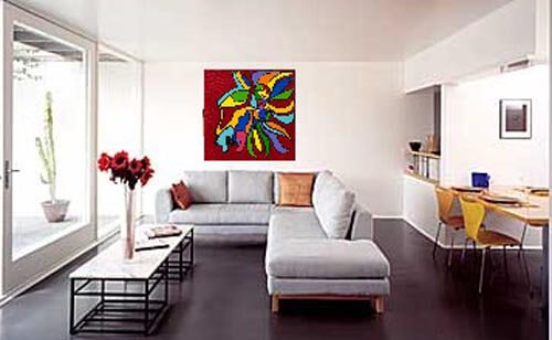 zulu wall painting arts of ricardo gomez in white living room Perfect Backdrop For Paintings and Photos