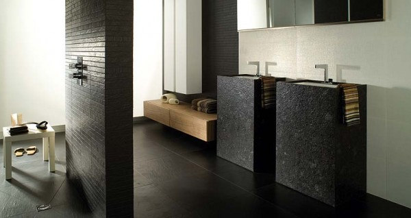 13G Tetris Granito Len Nogal Tenue Blanco Brillo 600x318 23 Astonishing Bathroom Design Ideas from Porcelanosa