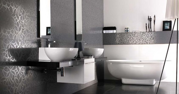 1V Deco Filo Gris+Filo Blanco 600x318 23 Astonishing Bathroom Design Ideas from Porcelanosa