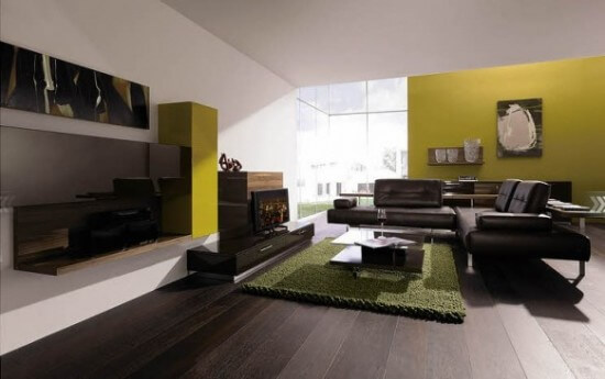 Green Living Room Wall System Design Ideas From Huelsta 550x345 How to Create Beautiful Accent Walls for Your Rooms