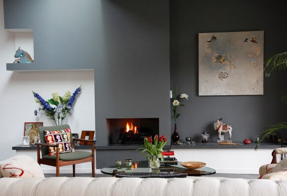 House tour gray accent wall simple fireplace 582x3981 How to Create Beautiful Accent Walls for Your Rooms