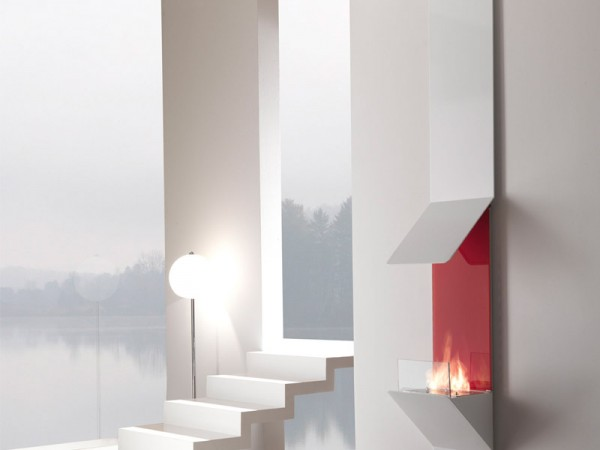 Minimalist Wall Mount Fireplace By Fontana Forni 1 600x450 Attractive Modern Fireplaces Designs