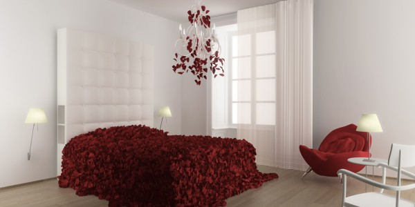 bedroom petals 600x300 Fabulous Maison Moschino With Striking Fairytale Design Concept