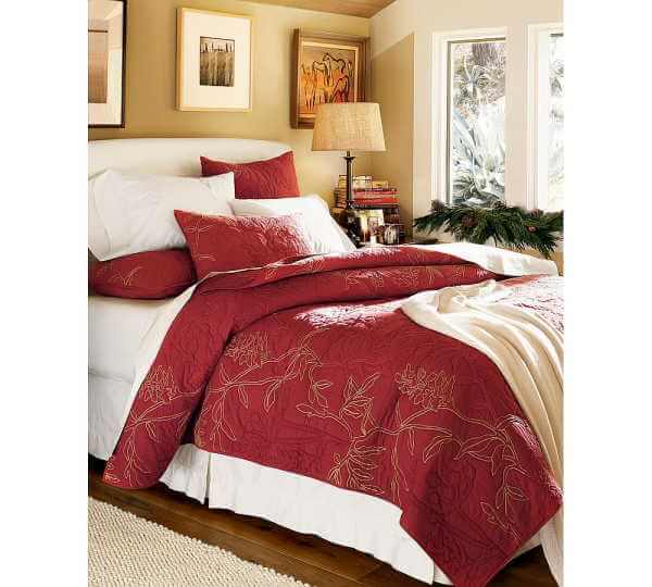botanical embroidered organic quilt sham bedding design ideas Elegant and Stylish Winter Bedding Ideas