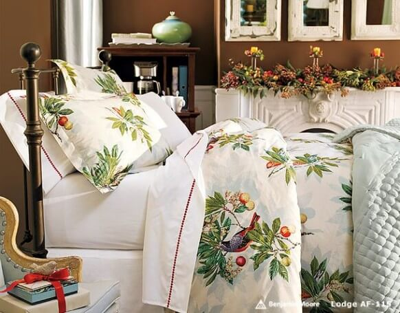 warm beautiful christmas bedding home furnishings white printed design Elegant and Stylish Winter Bedding Ideas