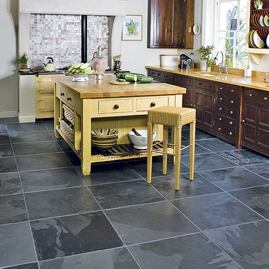 96 00000d1c8 bfec black slate kitchen floor tiles How to Choose Flooring for Kitchens