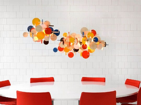 bau pendant lamp Multi Coloured Sculptural Hanging Lamp with Geometric Shapes