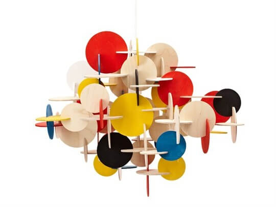 bau pendant lamp03 Multi Coloured Sculptural Hanging Lamp with Geometric Shapes
