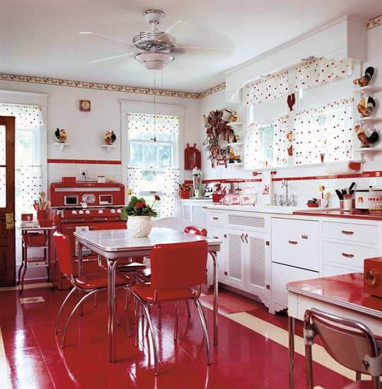 mid century modern kitchen red white 550 How to Choose Flooring for Kitchens