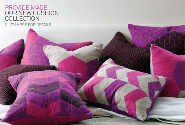 provide made launch 2 600x407 Handmade Vibrantly Coloured Cushions