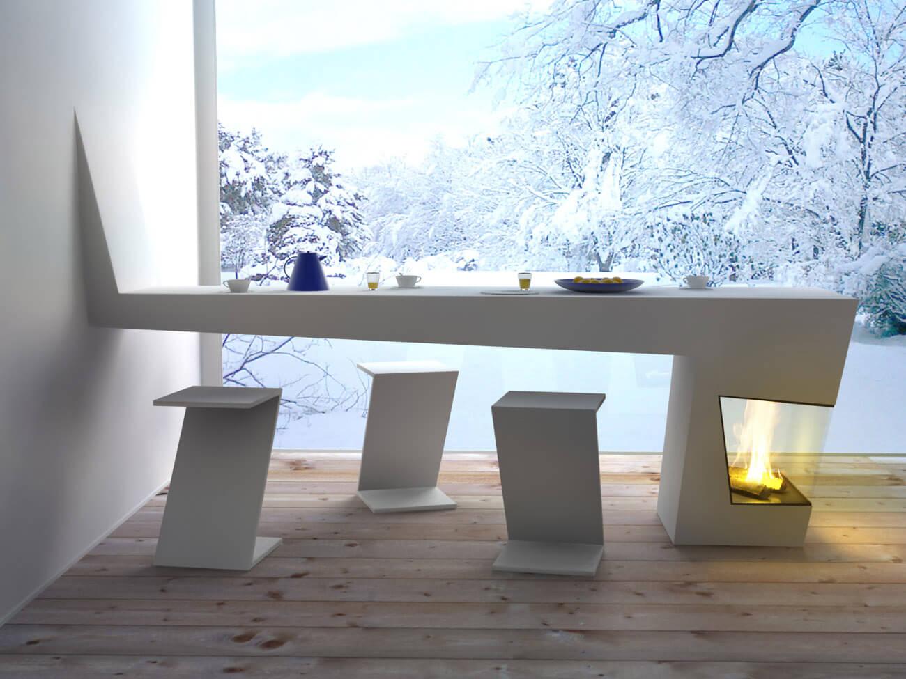 Дизайн кухни. современный кухонный стол со встроенным камино.