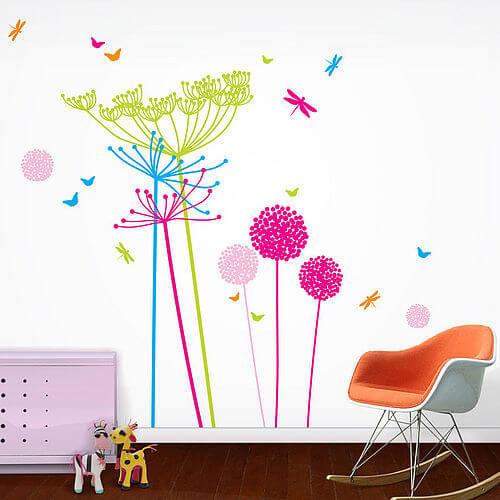 zoom Fluoro Dandelion stickers in playroom Appealing Wall Stickers Ideas for Kids Bedroom