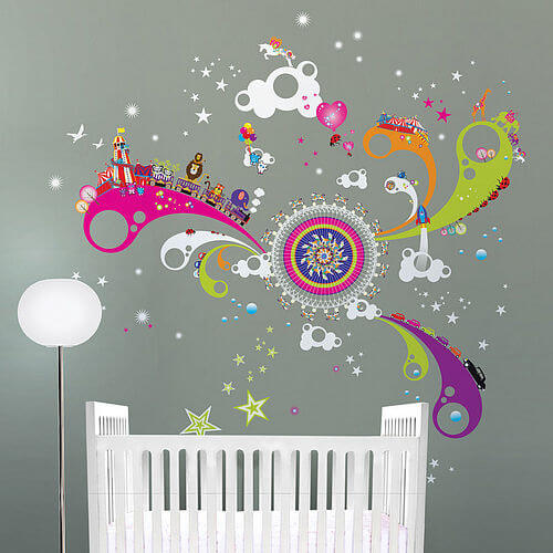 zoom Fun of the Fair stickers and cot Appealing Wall Stickers Ideas for Kids Bedroom