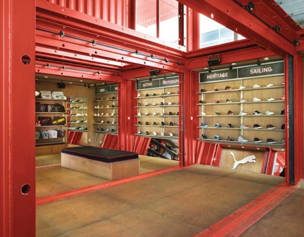 puma city container store5 600x468 Puma City: Shipping Container Store by LOT EK