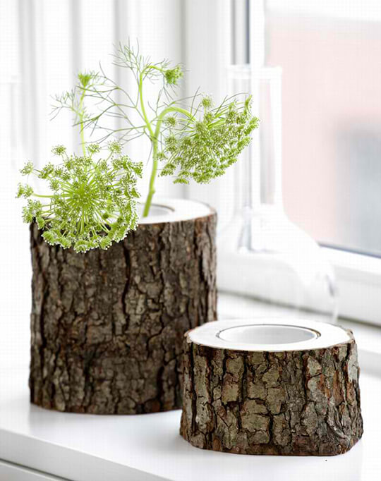 rustic wooden vases1 Inspired by Nature: Rustic Wooden Vases
