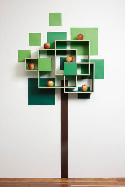 tree apples full wall Shelves and Wall Decoration in a Beautiful Combination
