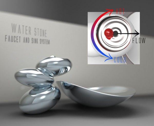 water stone faucet and sink2 600x489 Water Stone faucet and sink system elegance by Omer Sagiv