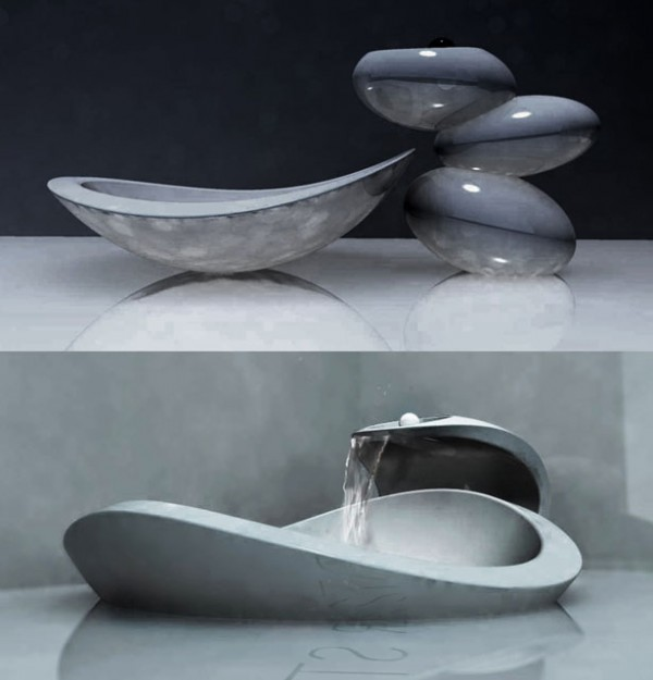 water stone faucet and sink3 1 600x625 Water Stone faucet and sink system elegance by Omer Sagiv