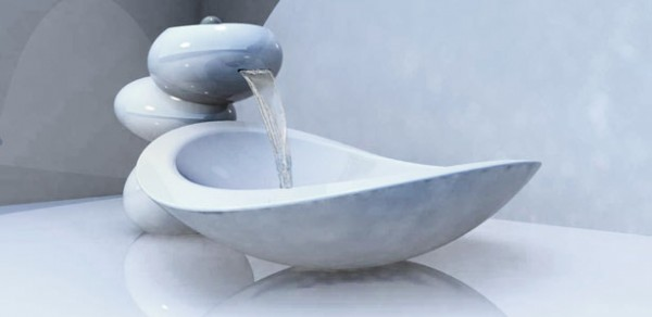 water stone faucet and sink4 600x292 Water Stone faucet and sink system elegance by Omer Sagiv