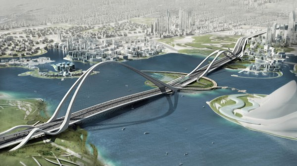 worlds largest arc bridge dubai 600x336 Impressive Architecture: Worlds Longest Arched Bridge in Dubai