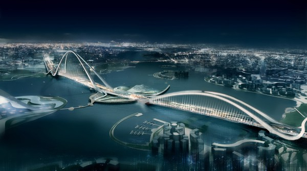 worlds largest  arc  bridge dubai1 600x335 Impressive Architecture: Worlds Longest Arched Bridge in Dubai