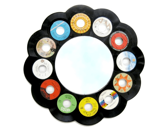 Jeff davis mirror recycled records 22 Decorative Objects Ideas Using Old Vinyl Records
