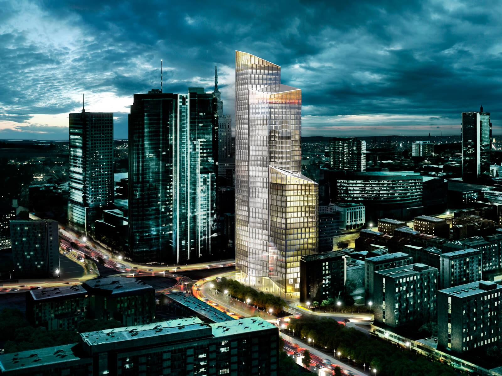 Office Tower in Warsaw Displaying Unique Elegant Shape