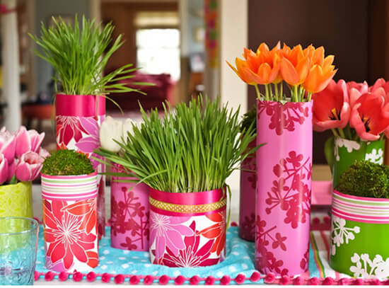 colored wrapped vases 5 Design Ideas to Decorate Your Home for Spring