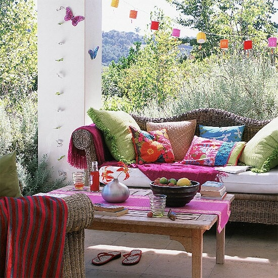 10 Designs Ideas to Create Colorful Outdoor Spaces ... on Colorful Patio Ideas id=35435