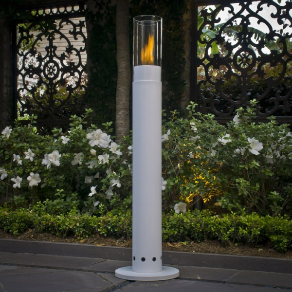 highpillar white flower lit1 600x600 11 Great Examples of Fireplaces Design