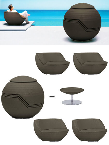 outdoor furniture bargains modani ball sofa set 15 Modern Furniture Ideas for Inviting Outdoor Spaces