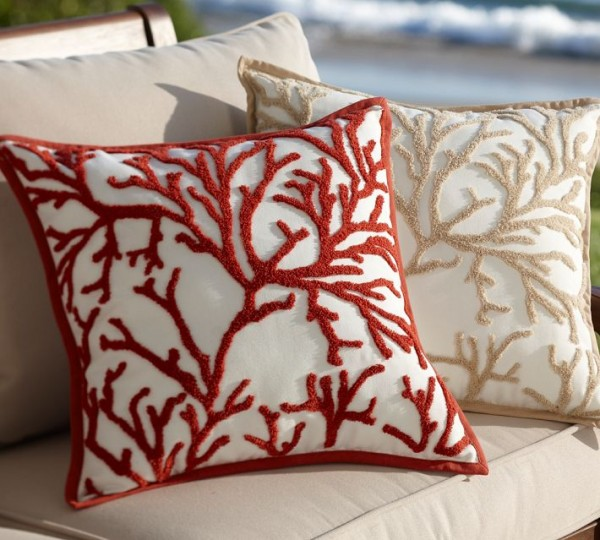 outdoor pillows coral embroidered 600x540 20 New Outdoor Pillows Models from Pottery Barn