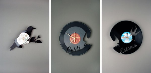 recycled vynil record creative clocks1 600x292 22 Decorative Objects Ideas Using Old Vinyl Records